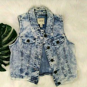 Cherokee Girls Acid Wash Jean Vest L